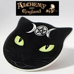 Alchemy Gothic Triple Moon Cat Ceramic Coaster